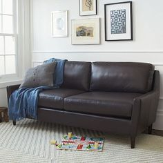 """Everett Leather Sofa #westelm   $1499 x 25% = $1,125 76""""l x 30.5""""d x 32""""h  6'3"""" long Top grain coffee colored leather with solid wood legs w/ chocolate stain finish; Seat depth: 21"""". Back height: 16"""". Interior seat width: 69"""". Clearance: 6.5."""""""