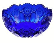 Fruit Bowl: Large Heritage Diamond Cut Cobalt Blue Glass Bowl
