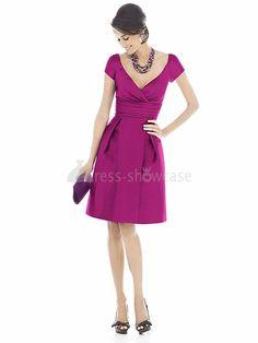 Short Taffeta Ruffles Sheath/ Column V-neck Bridesmaid Dresses 2012