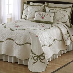 Country Romance Floral Ribbon Cotton Quilt Bedding