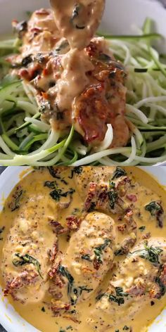 Chicken cooked in a creamy garlic parmesan and sun-dried tomato sauce all in one pan in under 30 minutes. Serve with zucchini noodles, veggies or a salad for a low-carb protein packed lunch or dinner! Healthy Chicken Dinner, Easy Healthy Dinners, Healthy Dinner Recipes, Healthy Lunches, Date Lunch Recipes, Healthy Meal Prep, Vegetarian Recipes, Low Carb Chicken Recipes, Low Carb Recipes