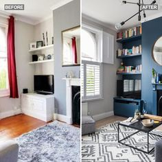 Living room makeover featuring Farrow & Ball Stiffkey Blue