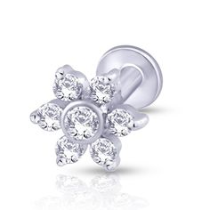 Six diamond studded petals set around a bezel set diamond at the center. Looks fab, goes with anything. -,Gold & Diamond Nose Stud For Girls & Women. 18K/14K Gold With Certified Diamonds. Door Delivery