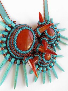 Technicolor Tide Pools OOAK Bib Necklace | spike beads