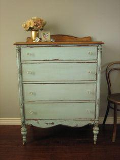 European Paint Finishes: Cottage Green Dresser ~