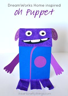 DreamWorks Home inspired Paper Bag Oh Puppet Kids Craft (with Free Pattern) from iheartcraftythings.com.