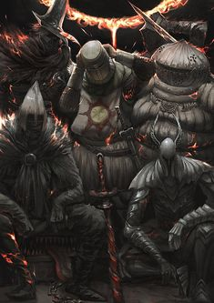 Dark Souls,фэндомы,Dark Souls 3,DS art,Solaire of Astora,DS персонажи,Abyss Watchers,DSIII персонажи,Siegward of Catarina,Ashen One,Silver Knight,mimic
