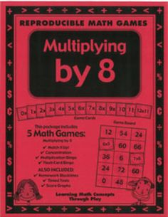 Multiplying by 8 - Math Games and Lesson Plan  great games for multiplication!  FREEBIE...