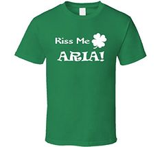 Kiss Me Aria St Patricks Day Party Lover Clover Shamrock T Shirt 2XL Irish Green <3 Click the image to view the details