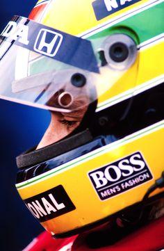 Ayrton Senna wearing helmet. Tumblr