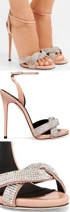 GIUSEPPE ZANOTTI Suede-trimmed crystal-embellished patent-leather sandals #giuseppezanottiheelssandals