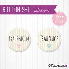 """2er+Set+""""Trauzeugen""""+Buttons+♥+25+mm+von+Kuschelich+auf+DaWanda.com"""