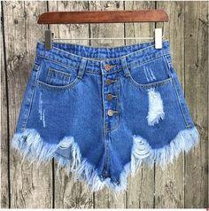 Inngraee 2017 Ripped Pocket Women Shorts Summer Casual Denim Shorts Vintage Hole Hot Shorts Denim for Women NS8434