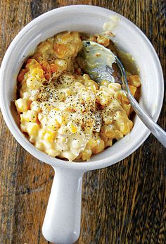 Cheesy Corn Casserole:   This baked corn casserole is a popular side dish at Smokestack restaurant in Kansas City. This recipe first appeared in our June/July 2011 BBQ issue. [click for recipe]