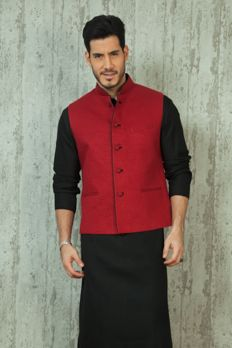 Linen jacket with quilting design on fabric. Item number M16-28 from #Benzer #Benzerworld #Indowestern #Weddingdressformen
