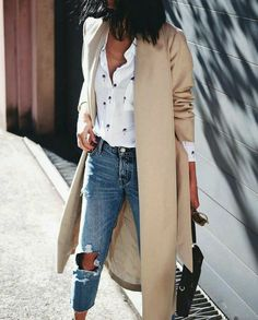 Ripped jeans, coat and shirt