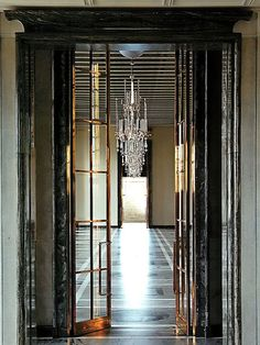 hallway and chandelier