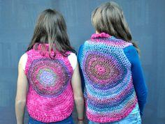 Crochet Pink girls Vest / Crochet wool purple by SophieCRO on Etsy