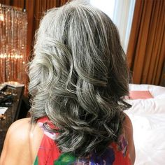 Long Curly Gray Hairstyle For Thick Hair