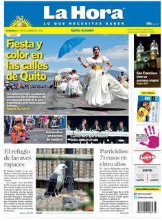 Los temas destacados son: Fiesdta y color en las calles de Quito, Aderenalina con coches de madera, Correa dice que el Metro debe construirse, San Francisco vive su semana mayor, El refugio de las aves rapaces, y Parricidios: 71 casos en 5 años.