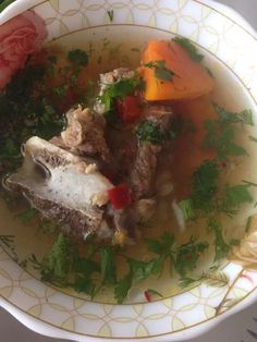 Homemade soup with meat & potatoes