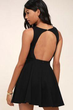 f52b8d339912 Gal About Town Black Skater Dress