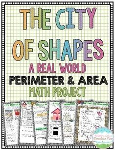 Engage your students with this 12 page, real world Perimeter and Area Math Project! Your class will be masters at perimeter and area after they complete this project, building and designing many buildings and aspects in their city. Sixth Grade Math, Fourth Grade Math, Grade 2, Second Grade, Math Resources, Math Activities, Math Games, Maths Area, Maths Fun