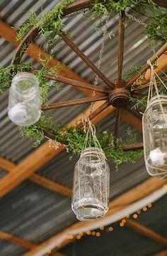 Rustic mason jar wedding decor #masonjar #chandelier #rustic