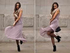 Intrigue U - Love Dress, H&M Faux Fur Collar, Asos Suede Ankle Boots, Alexander Wang Chain Bag - Summer to Fall
