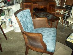 Nice Blue Accent Chair $40  LOL don't hate - if this was painted navy blue it would look high end 864-616-3624