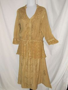 Sz L Club Z Collection Camel Skirt Set Long Skirt 3/4 Top Embroidery Beads Front