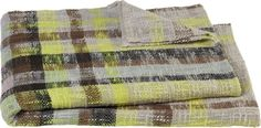 edin plaid throw in bed linens   CB2- love the color combo