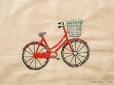 Sketchy Retro Bicycle Dishtowel » Flamingo Toes