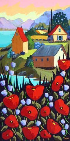 Harmonie by Louise Marion Quebec Landscape Quilts, Landscape Art, Art Fantaisiste, Art Et Illustration, Naive Art, Canadian Artists, Art Design, Whimsical Art, Oeuvre D'art