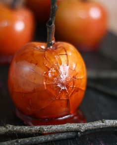 maple candied apples  loving the spider web effect for halloween