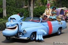 Aladdin car    It appears that the shape-shifting Genie has transformed himself into a Genie-colored car for Aladdin and Jasmine.