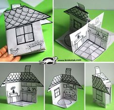 How to Make a Paper House (Diy Paper) children activities, more than 2000 coloring pages folding house which can be adapted to be used as a prop for storytelling. Easy and simple activity for early years and primary. A great idea for your lesson plan and Diy Paper, Paper Crafting, Paper Art, Paper Doll House, Paper Houses, Up Book, Paper Toys, Teaching Art, Teaching Map Skills