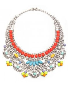 12 Statement Necklaces: Tom Binns Electric Colour Statement Necklace from Charm & Chain.