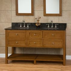 "60"" Taren Bamboo Double Vanity with Hammered Copper Sinks"