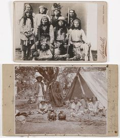 "A cabinet card, ""Al-Che-Say,"" titled in the negative, with imprint for F.A. Hartwell's Phoenix, AZ studio on left side; card, ""Al-Che-Say, noted Apache scout + family, Ariz"" written in pencil to right side of image. size 4 3/4 x 6 3/8in and 4 x 5 1/2in The image on the cabinet card was most likely taken by Andrew Miller, a photographer based in Silver City, New Mexico; the collector's notes draw attention to the initiate's cap worn by the boy, possibly the son of Alchesay (ZTX - 6/4/12 ) JC"