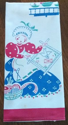 Vintage Color stencil type printed Dish Tea Towel, Lady sewing