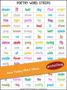Free printable! Kids can manipulate these fun word strips to create a poem or special message.