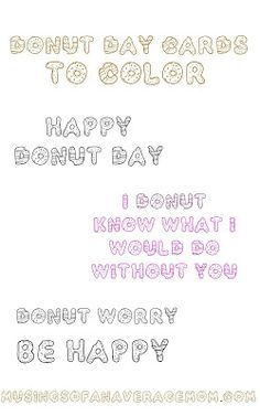 Free printable donut day cards - you can color or give as is!