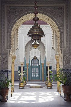 Morocco.Casablanca.The interior of the Mahakma du Pasha in the Quartier Habous or 'New Medina' in Casablanca. The building was once a palace and law courts but is now a police prefecture