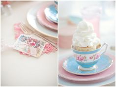 Setting ideas for vintage/shabby chic themed baby shower.