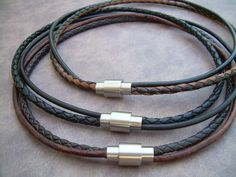 Mens Leather Necklace Stainless Steel by UrbanSurvivalGearUSA, $24.99