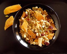 Grab & Go Trail Mix - 1&1/2 c almond granola ceral, 2 oz crystallized ginger, 2 oz dried sliced mango 1/2 sunflower seeds... mix & store in airtight container up to 2 months.
