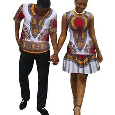New Mini Dresses For Women Couple Clothing Dashiki Plus Size Couple Clothes For Lovers Men Sets Brand-Clothing African Print Shirt, African Shirts, African Print Dresses, African Fashion Dresses, African Dress, Couples African Outfits, Couple Outfits, African Attire, African Wear