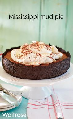 Triple chocolate Mississippi mud pie topped with whipped cream and a fine dusting of cocoa powder. A delicious recipe that friends and family will love. Check out the Waitrose website for more delicious recipes. Just Desserts, Delicious Desserts, Dessert Recipes, Yummy Food, Cold Desserts, Bar Recipes, Sweet Pie, Sweet Tarts, Waitrose Food