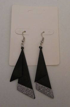 Earrings Women Fashion Drop Dangle Black Silver Glitter Hook Unbranded #Unbranded #DropDangle